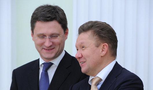 Министр энергетики РФ Александр Новак (слева) и председатель правления ОАО 'Газпром' Алексей Миллер